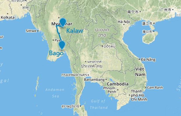 Mapa Bago - Kalaw v Barme