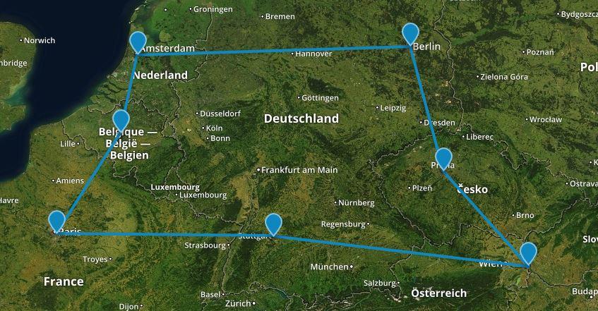 mapa roadtripu po európe