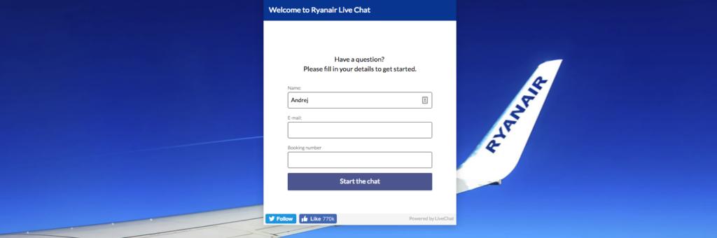 ryanair online chat